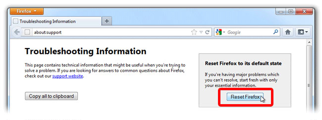 firefox_reset TravelDealsCenter